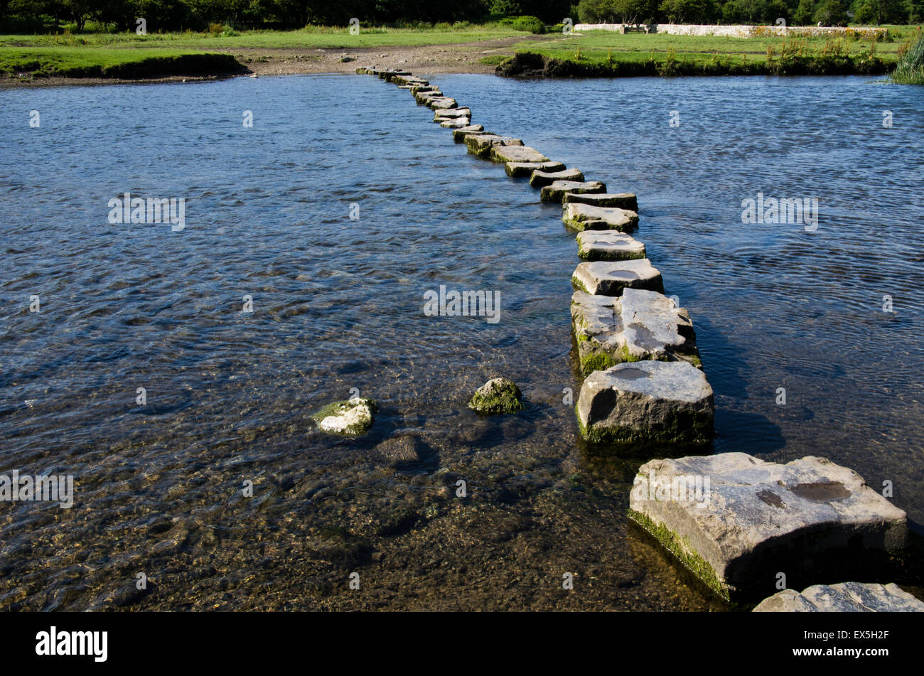 Stepping stones over the river Ogmore, South Wales, UK. - Stock Image
