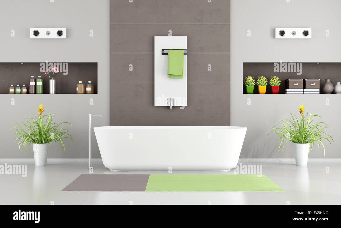 Contemporary Bathroom With White Bathtub,heater And Niche  3D Rendering    Stock Image