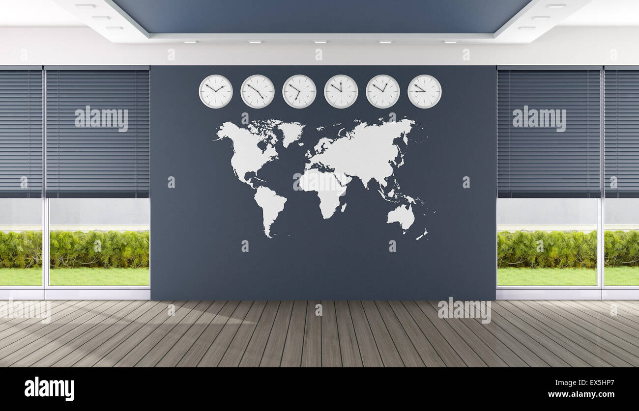 office world map empty blue boardroom with world map and clocks 3d rendering stock
