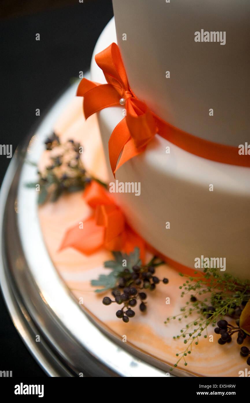 Decorated wedding cake - Stock Image