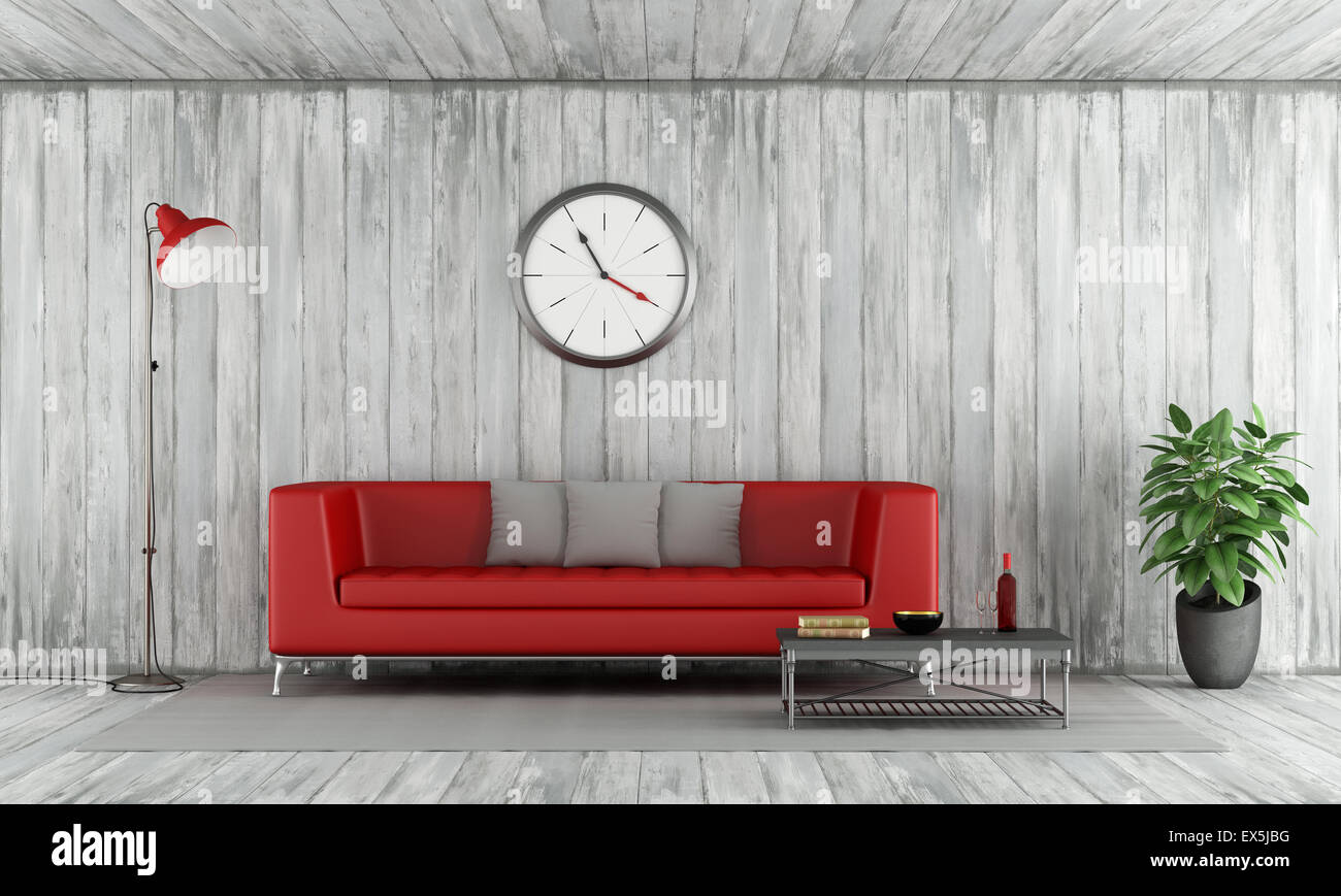 Contemporary Red couch in old wooden room with floor lamp,big clock ...