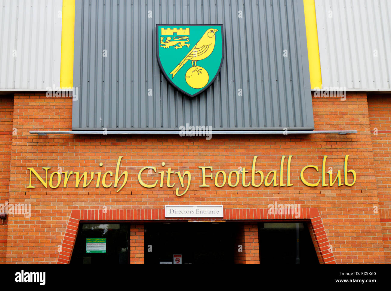 Norwich City Football Club directors entrance and badge at Carrow Road, Norwich, Norfolk, England. - Stock Image