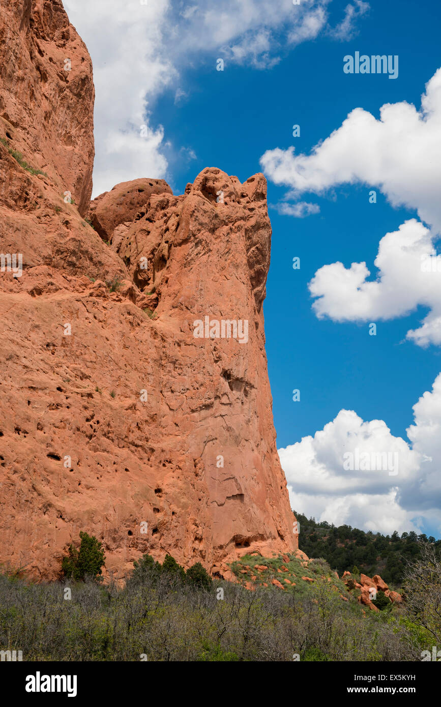 Vertical view of Red Rock and blue sky,Garden of the Gods, Colorado Springs, Colorado, USA, North America, United - Stock Image