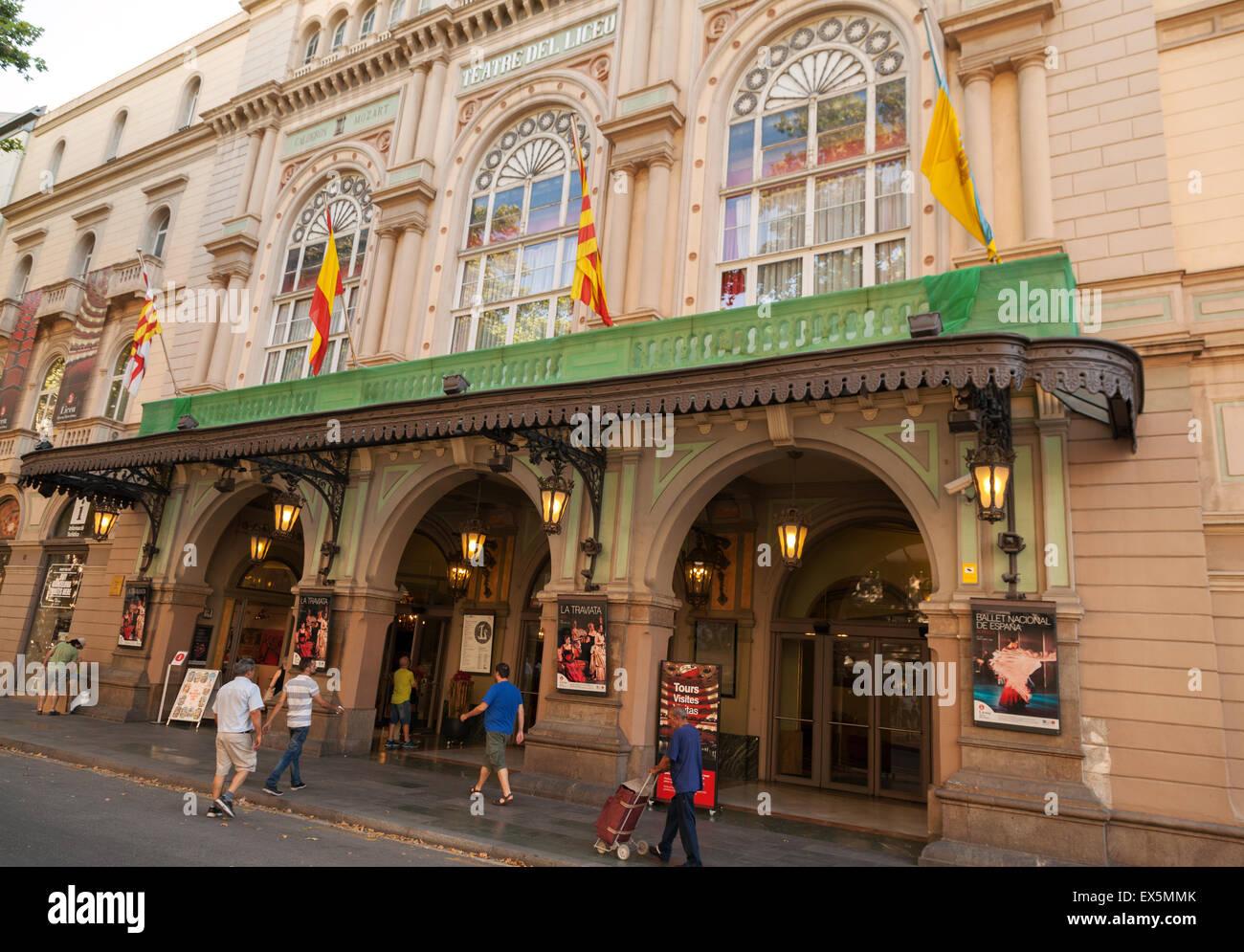 The Gran Teatre del Liceu, Las Ramblas, Barcelona Spain Europe - Stock Image