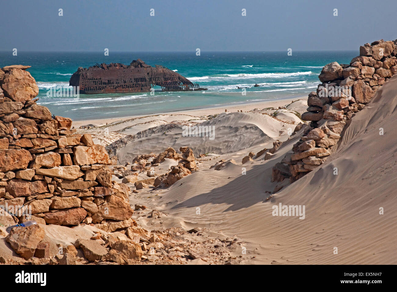 Wreck of the ship M/S Cabo Santa Maria beached in Praia de Atalanta on the island Boa Vista, Cape Verde / Cabo Verde, - Stock Image