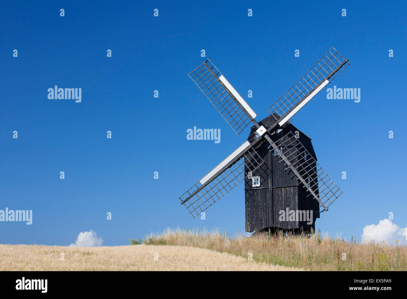Skabersjö windmill, traditional wooden windmill in Svedala, Skane, Sweden - Stock Image