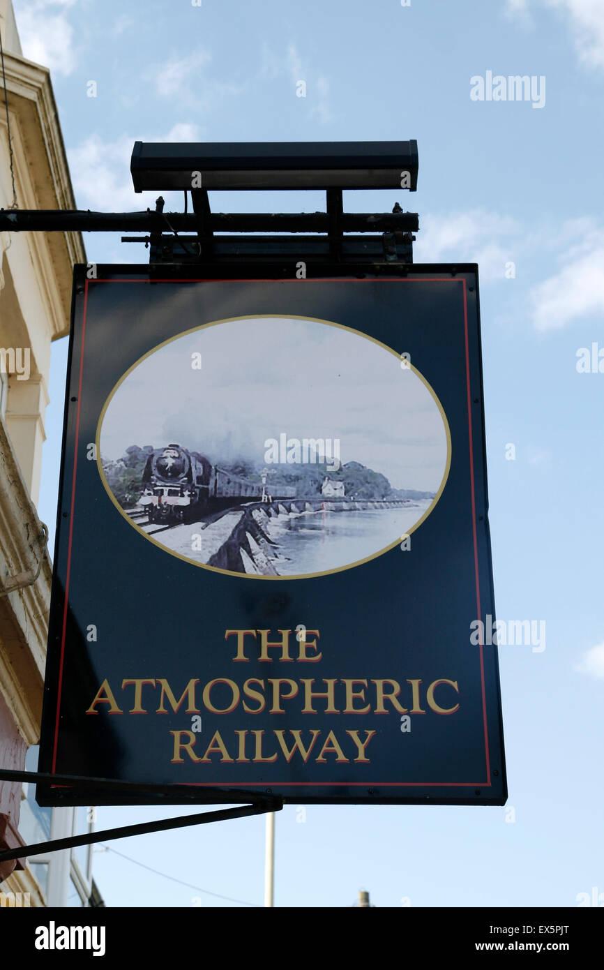 Inn sign  Brunel's Atmospheric Railway Starcross  Devon England UK - Stock Image