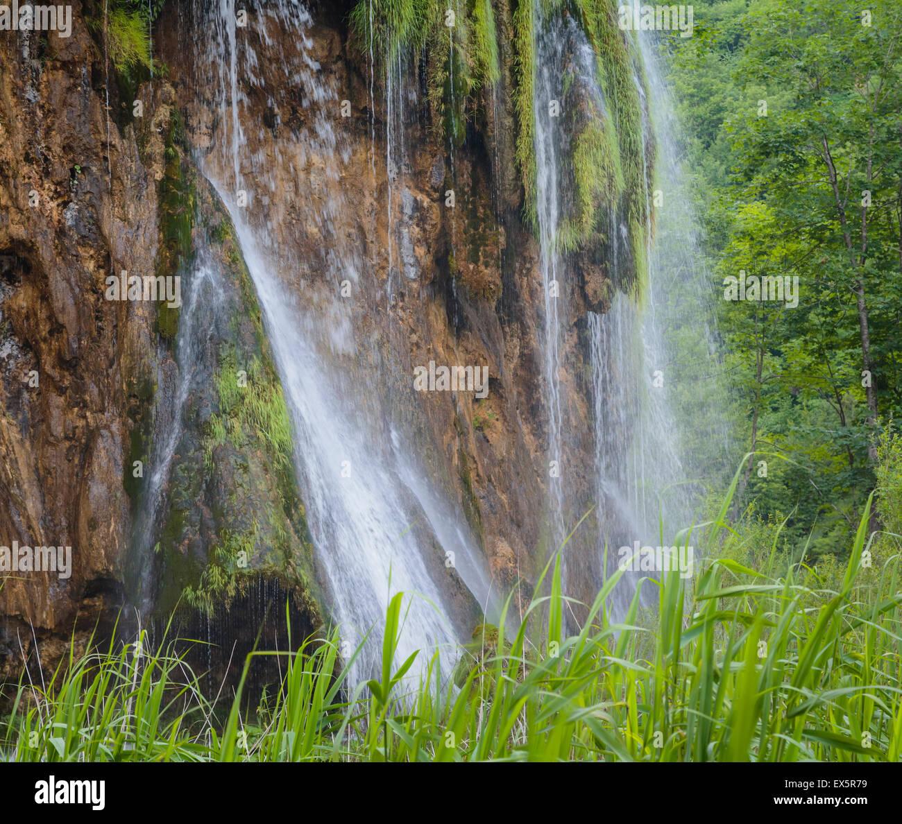 Plitvice Lakes National Park, Lika-Senj County & Karlovac County, Croatia. Waterfalls within the Park. - Stock Image