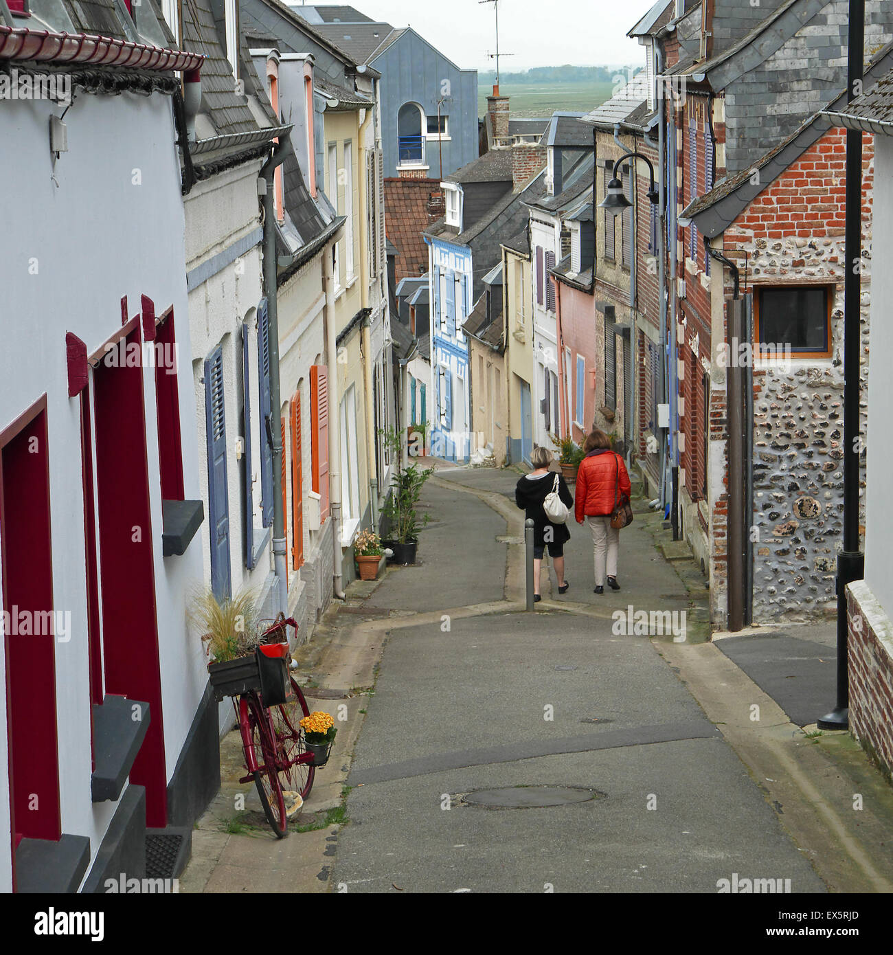St.Valery sur Somme , people on the streets - Stock Image
