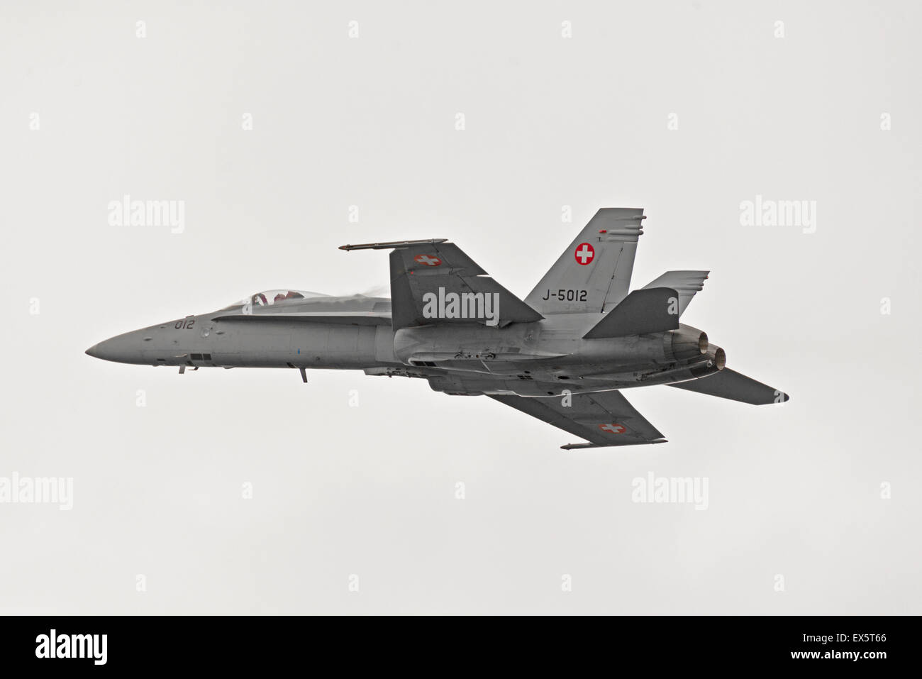 McDonnell Douglas F/A-18C Hornet J-5012 Switzerland Raf Cosford Air Show England Uk aerobatics - Stock Image