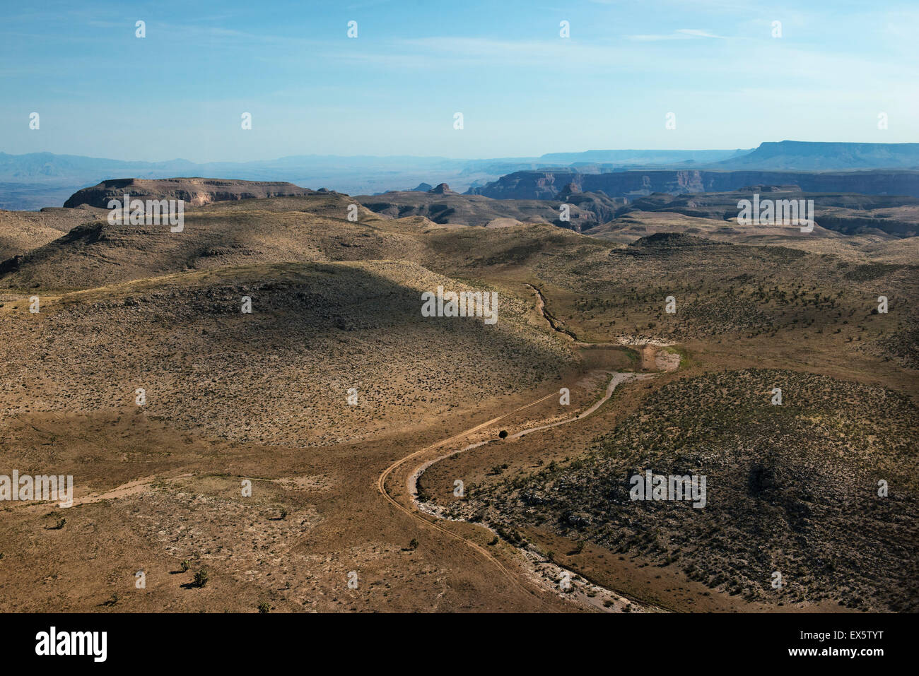 helicopter view of scenery between Las vegas and Grand Canyon - Stock Image