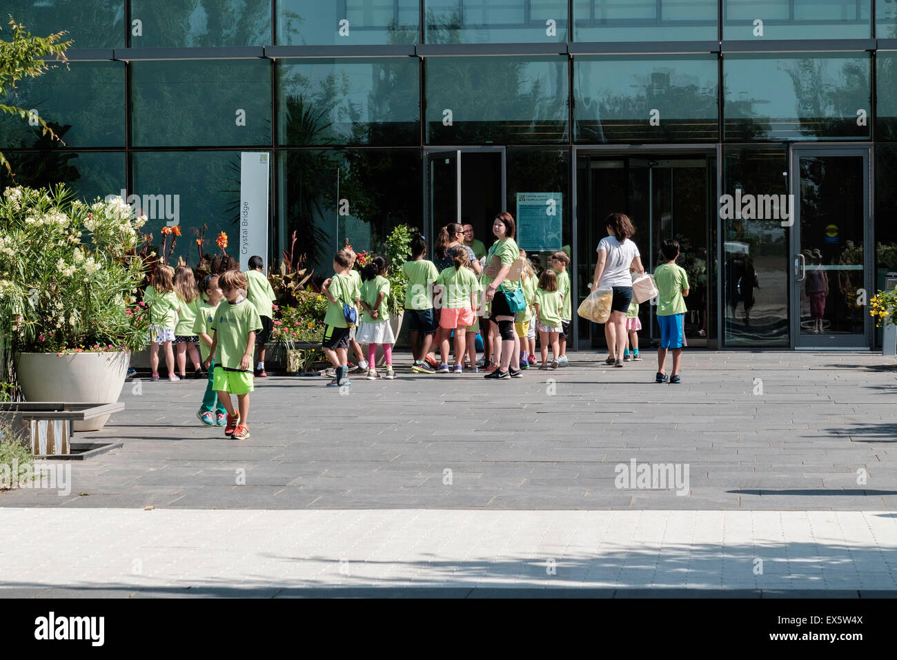 Caretakers take a large group of children from a summer day care on a field trip to the Crystal Bridge conservatory - Stock Image