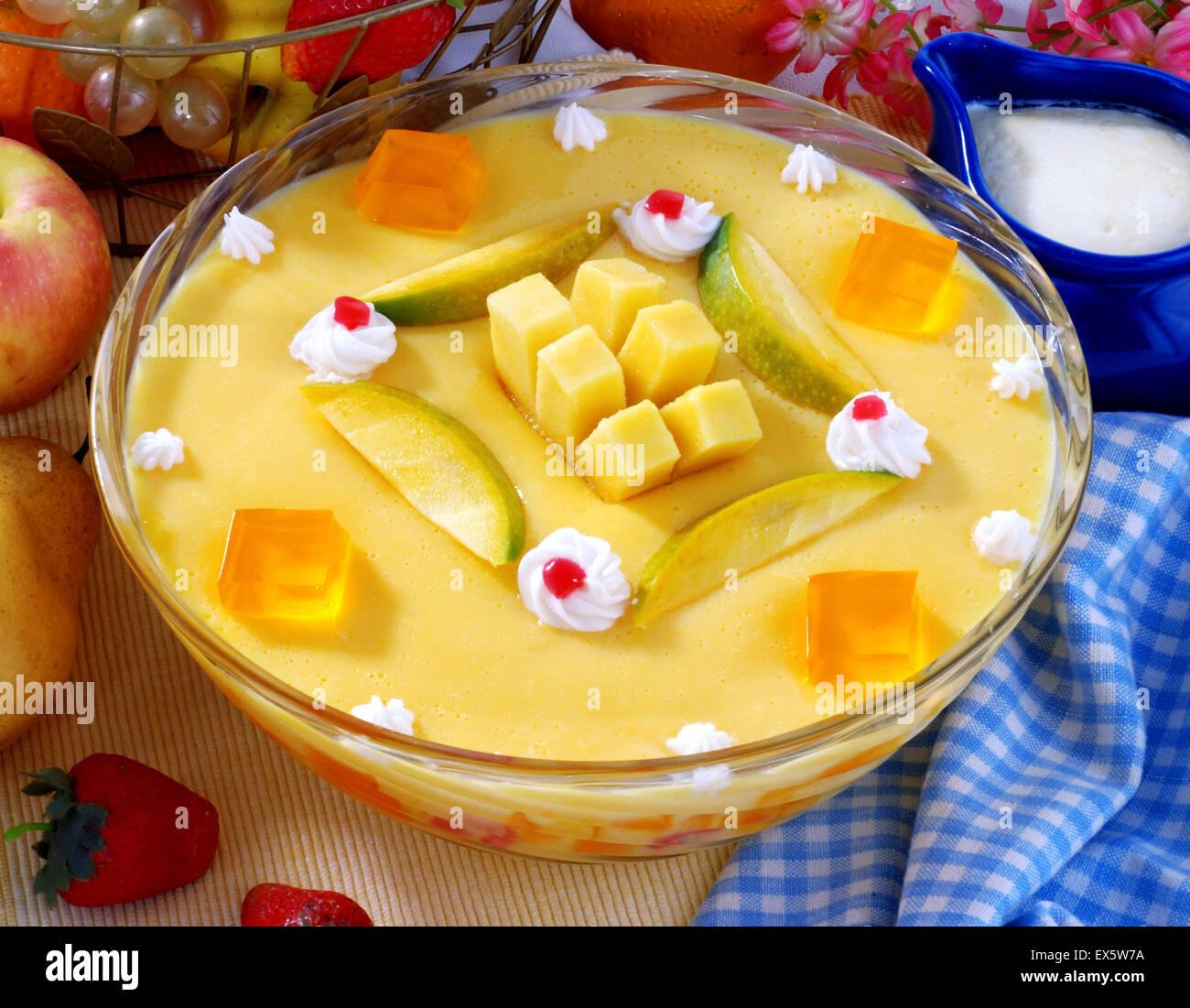 Delicious Mango Custard - Stock Image