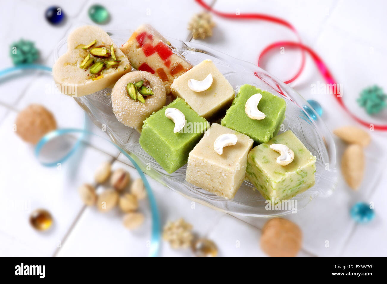 Delicious collection of khoya mitahi (sweets made by condensed milk) - Stock Image