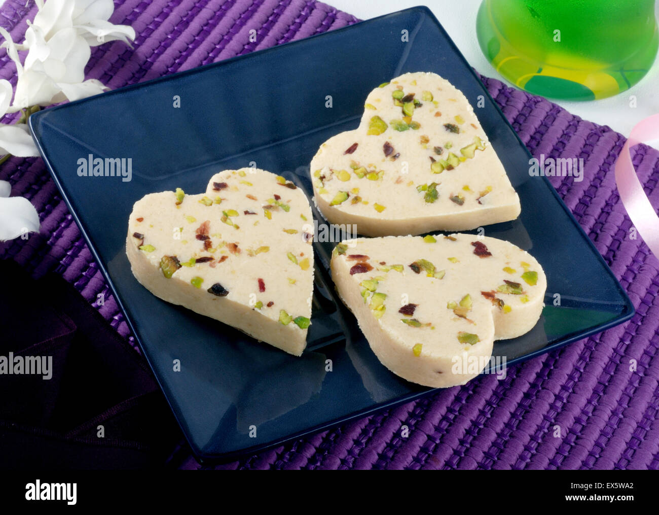 Delicious Sweet in heart shape (Paan Pera) - Stock Image