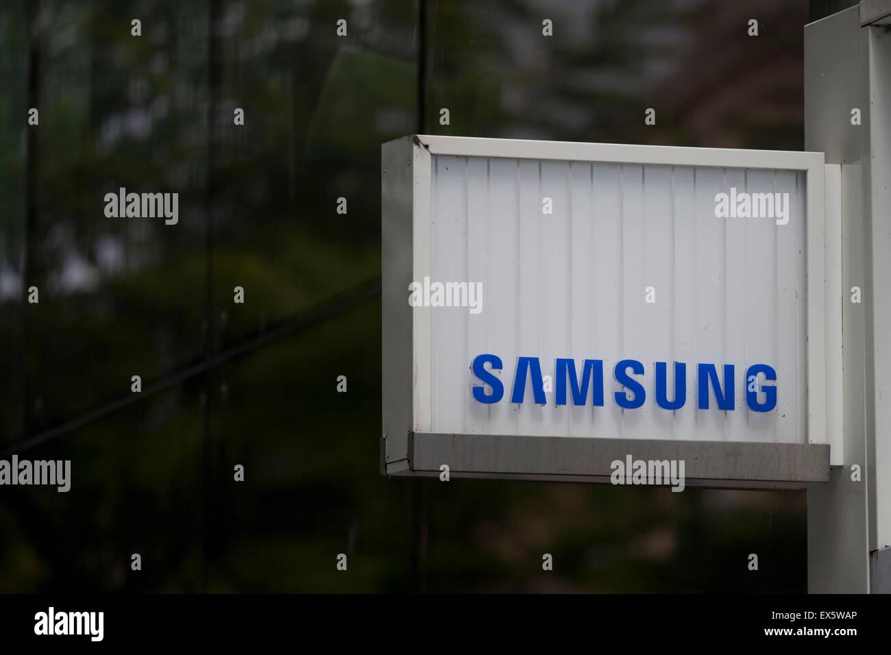 A Samsung shop sign logo. - Stock Image