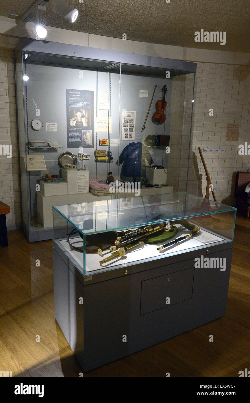 Display of memorabilia from the Titanic ship at the Ulster American Folk Park - Stock Image
