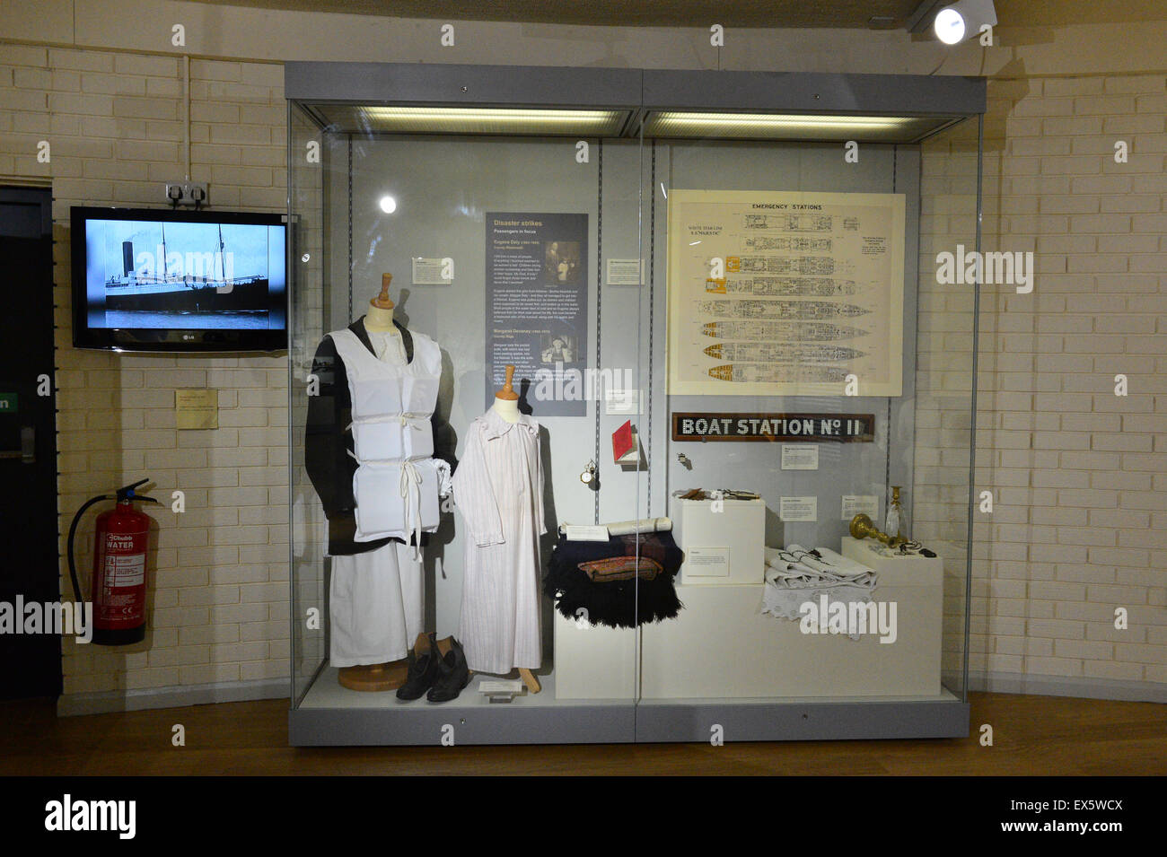Display of memorabilia from the Titanic ship at the Ulster American Folk Park Stock Photo