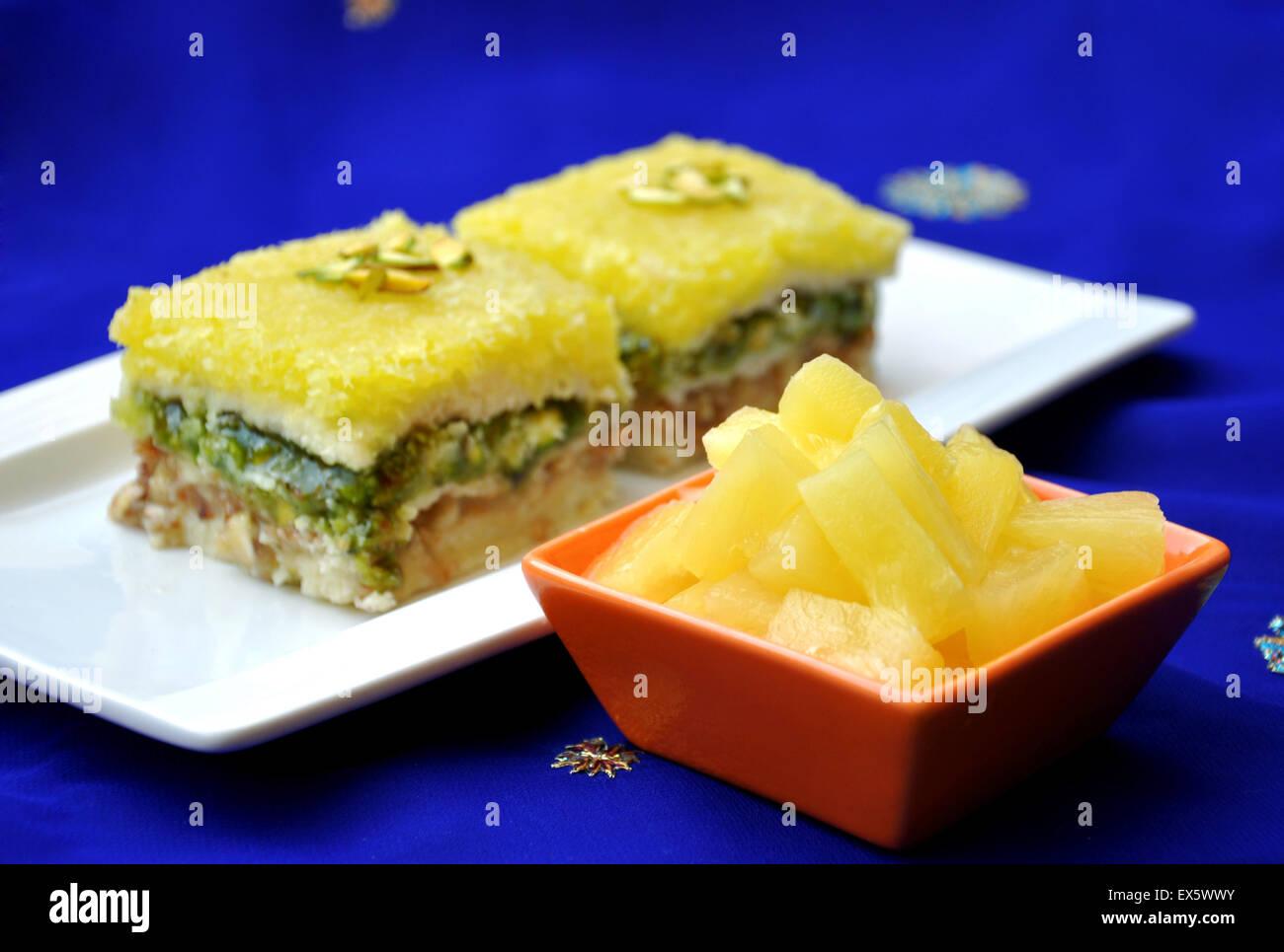 Pineapple Halva or Halwa prepared by fresh Pineapple and condensed milk khoya - Stock Image