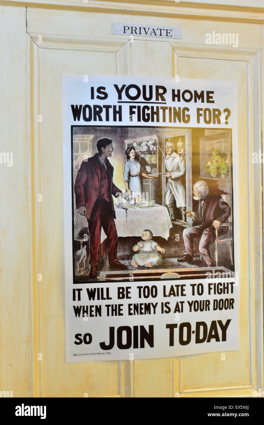 World War One letterpress recruiting poster for the British Army at the Ulster American Folk Park - Stock Image