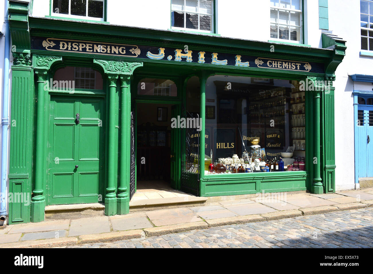 Exterior of early 20th century chemist shop at the Ulster American Folk Park - Stock Image