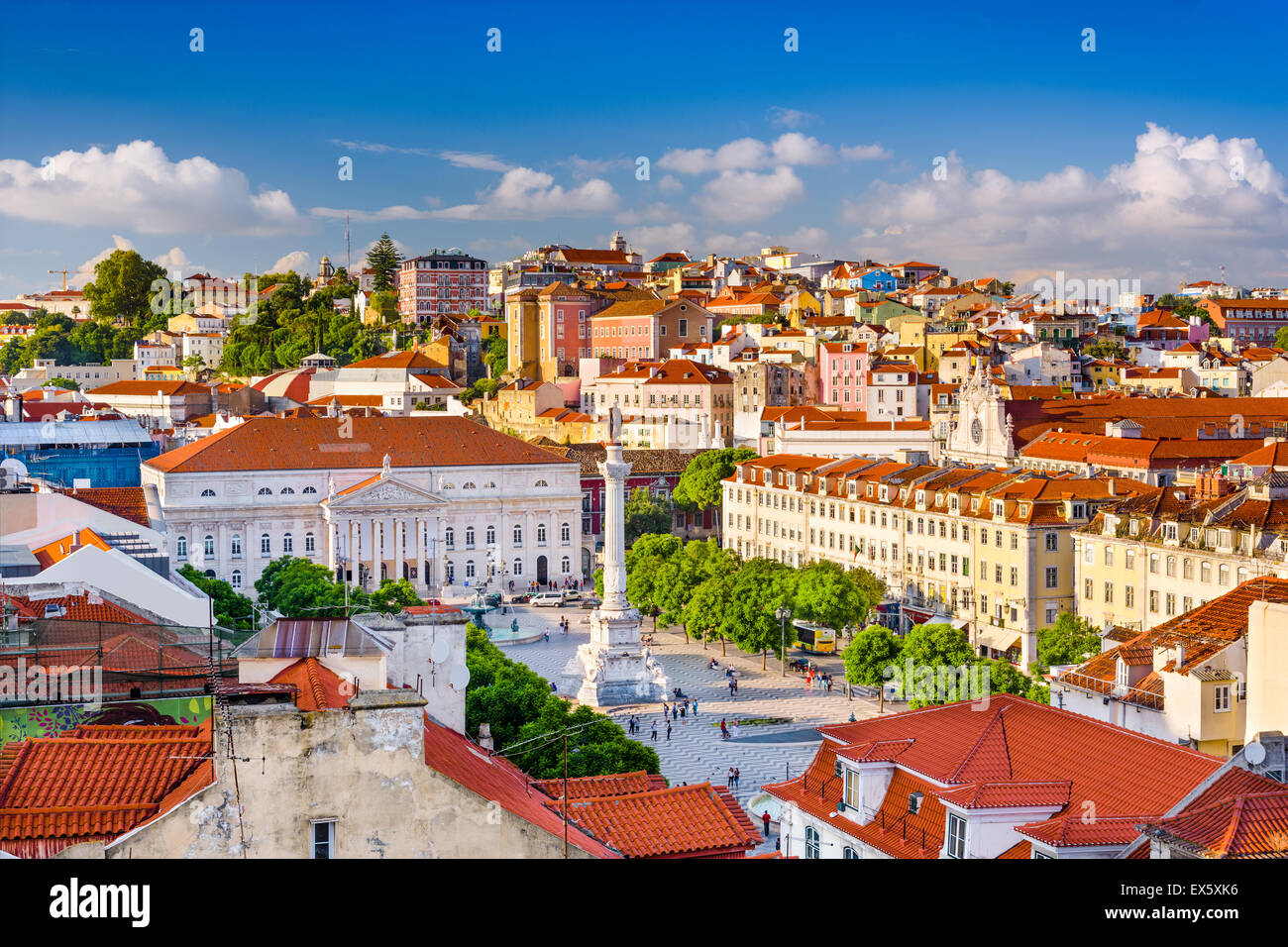 Lisbon, Portugal skyline view over Rossio Square. Stock Photo