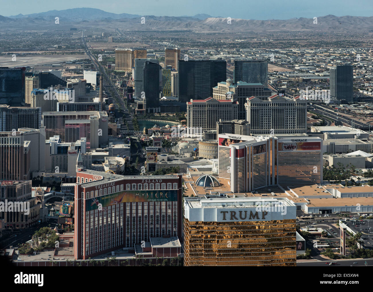 Las Vegas Skyline and the strip helicopter view - Stock Image