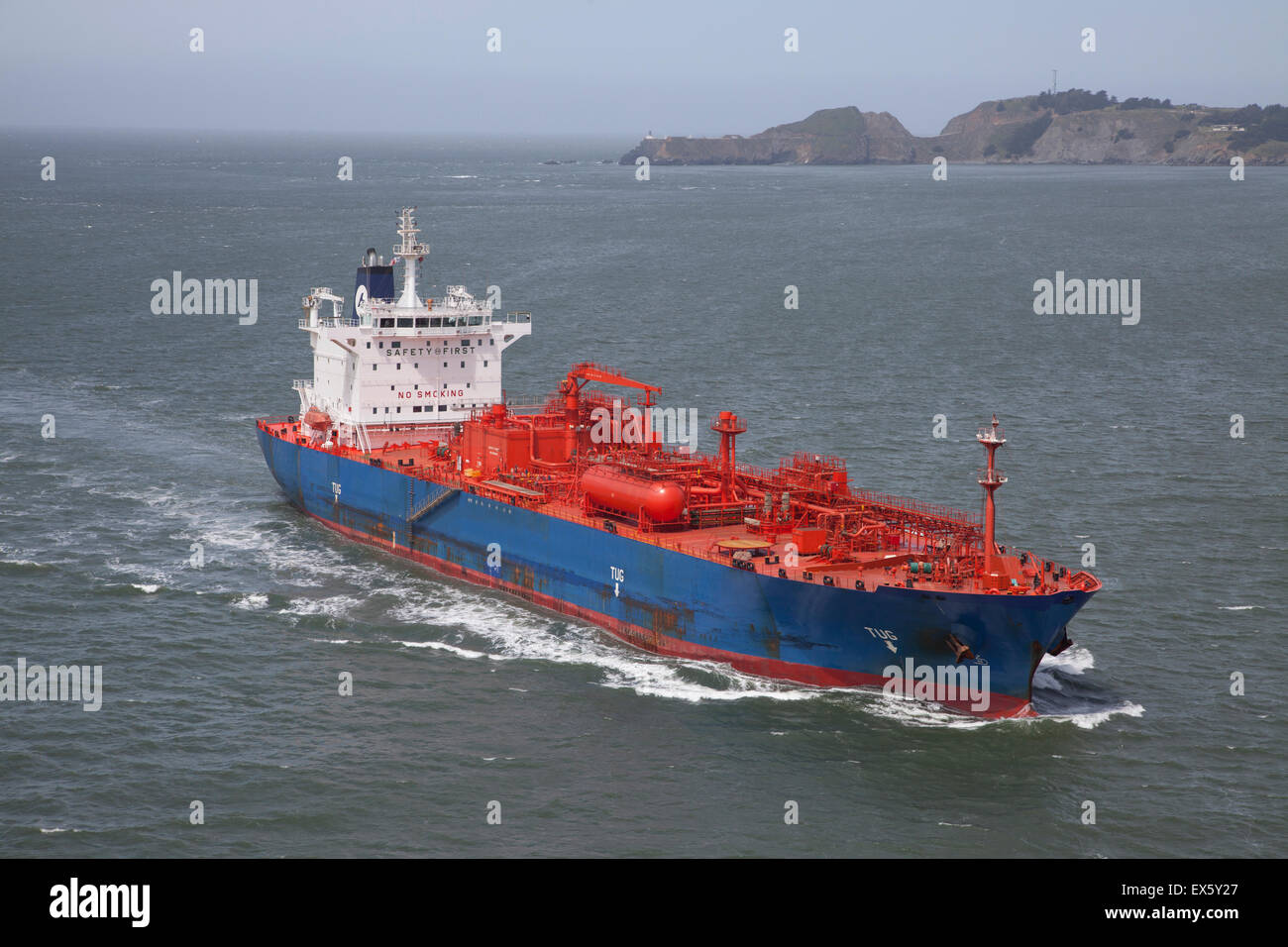 Ship bulk carrier at sea - Stock Image