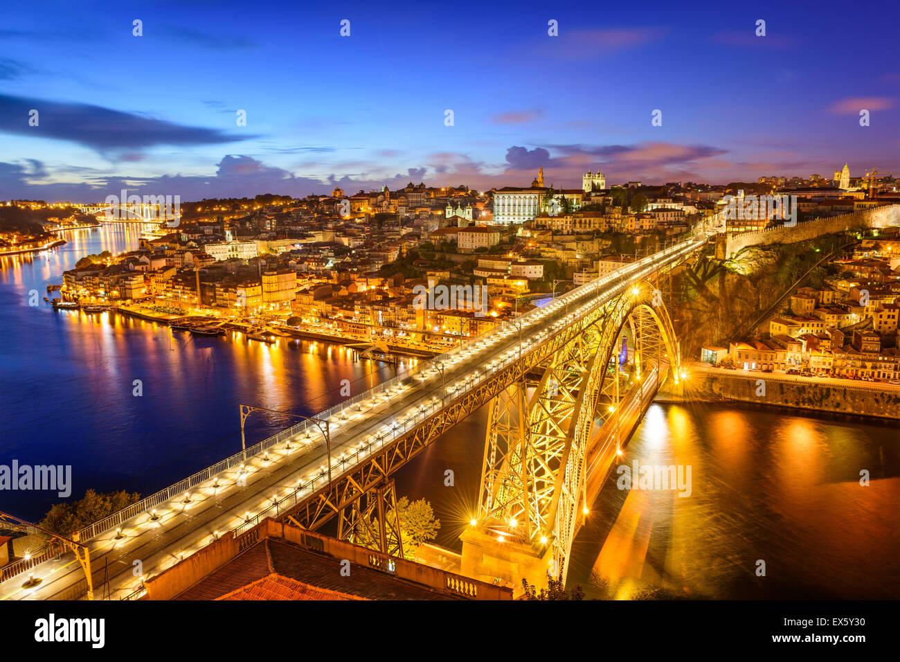 Porto, Portugal skyline over Dom Luis IV Bridge. - Stock Image