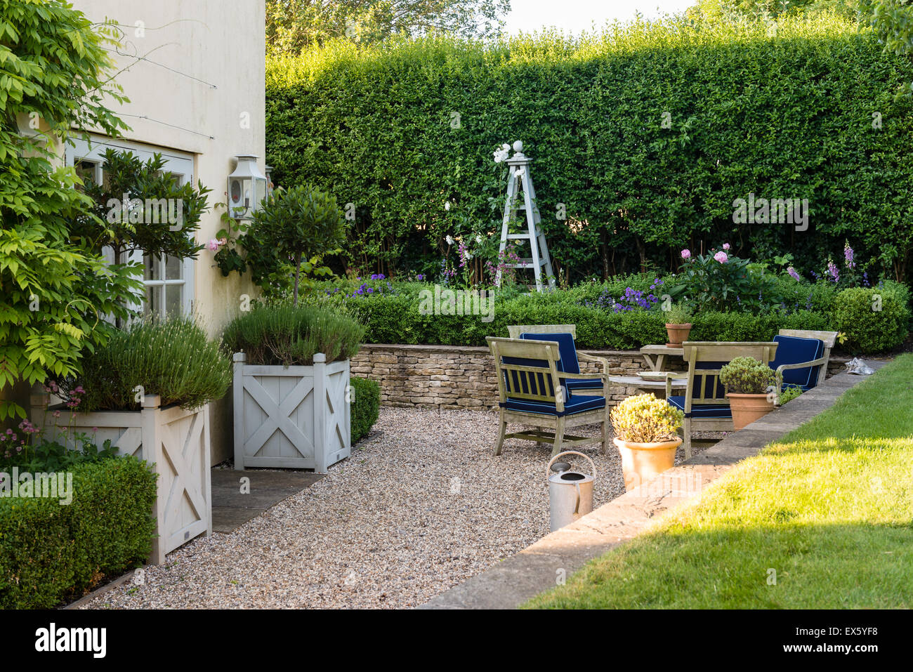 Box hedge and wooden furniture in english country garden - Stock Image