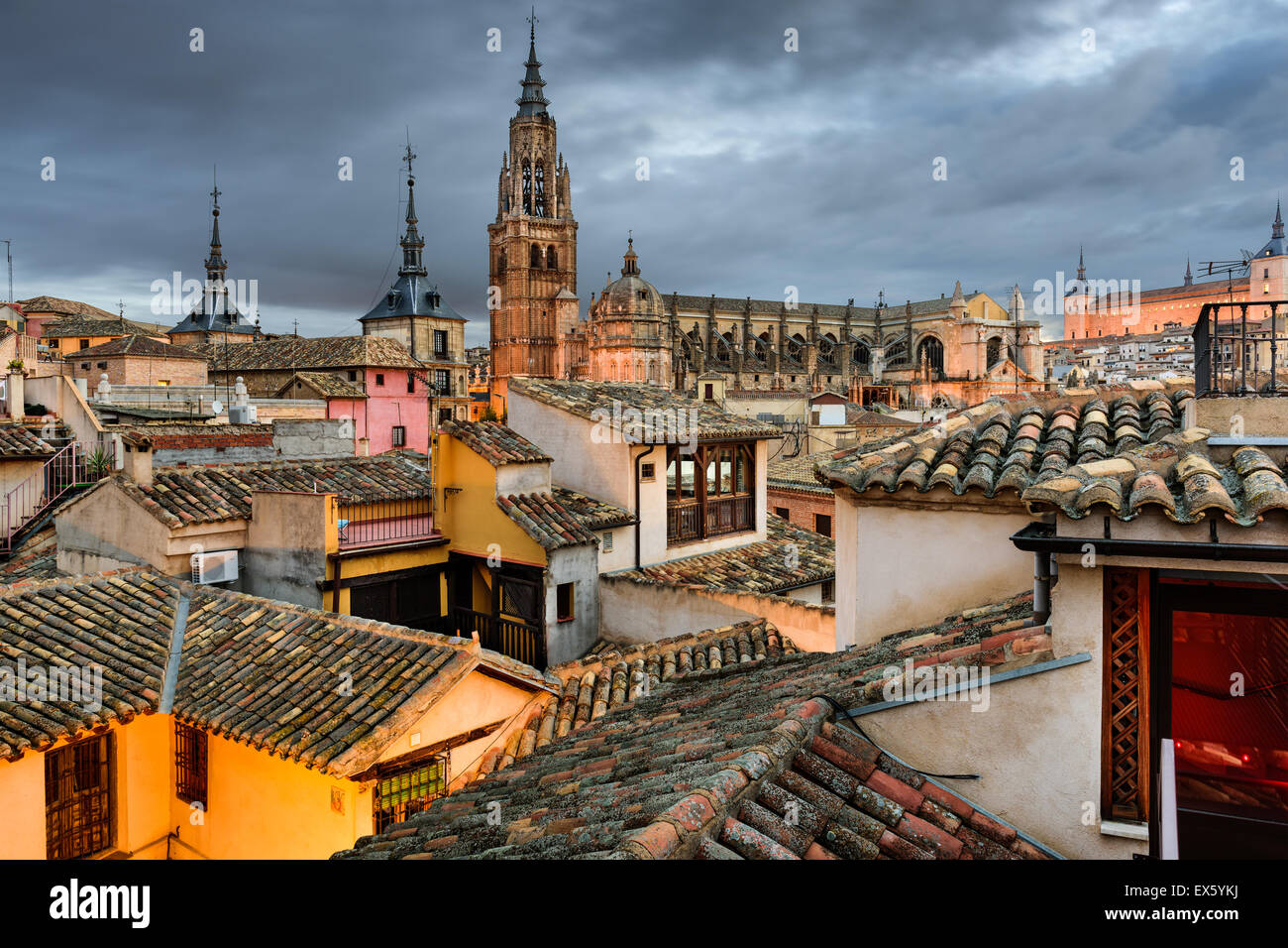 Toledo, Spain view of the town from a rooftop. - Stock Image