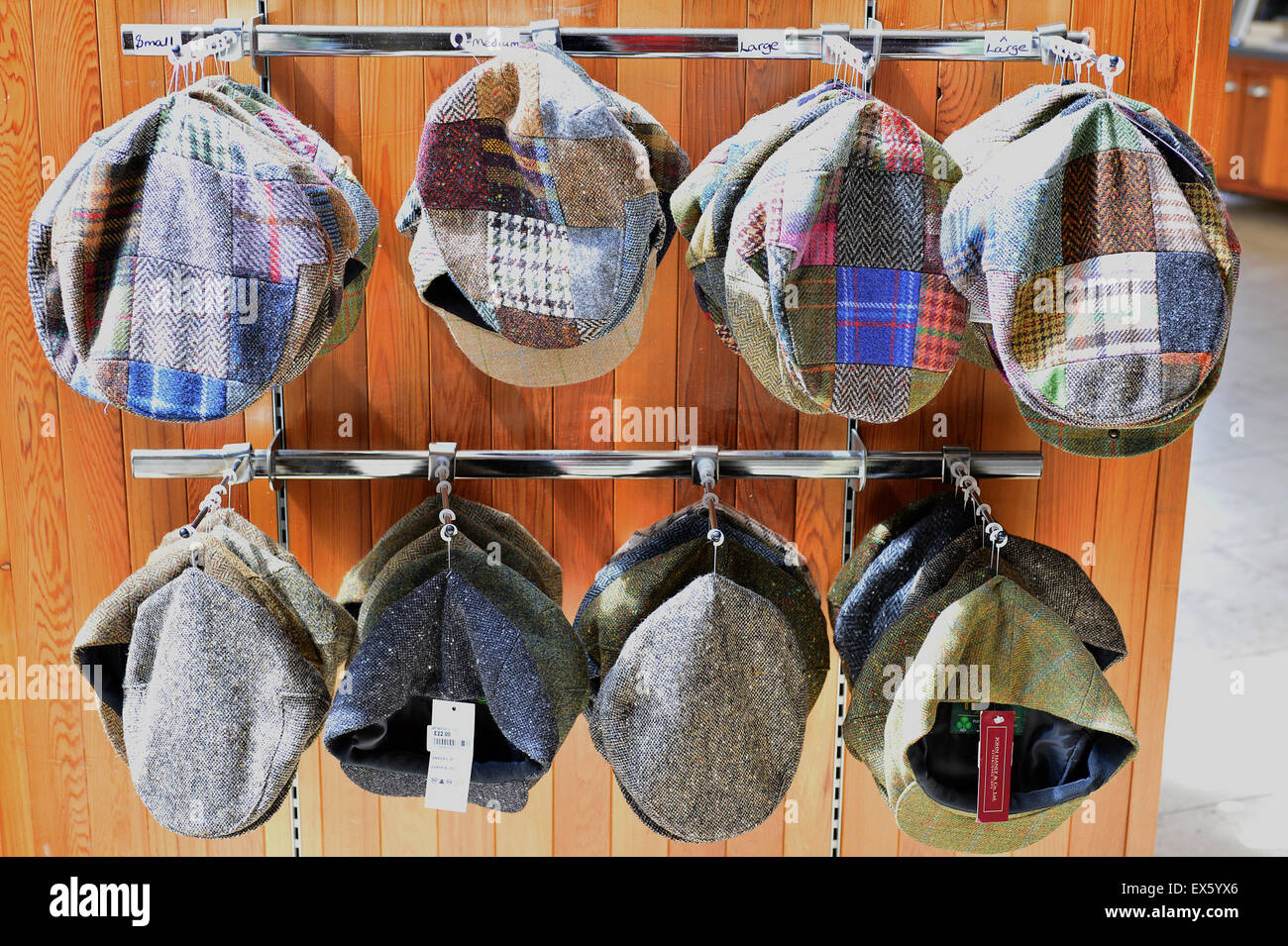 Irish tweed caps on display at the visitors shop, Ulster American Folk Park - Stock Image