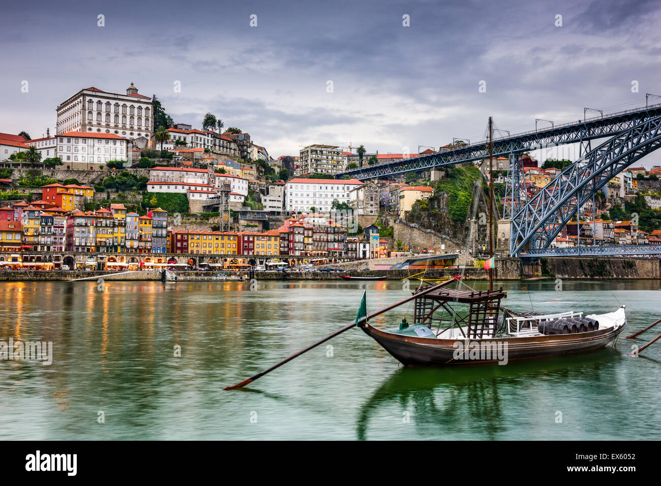 Porto, Portugal skyline on the Douro River at dusk. - Stock Image