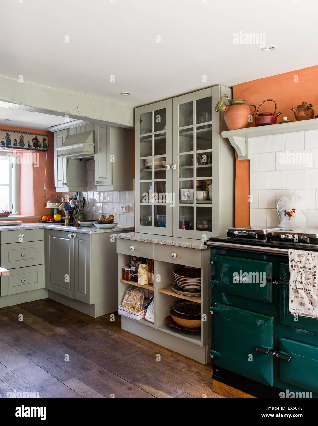 Country Kitchen With Beamed Ceiling And Rayburn The Units Are Stock