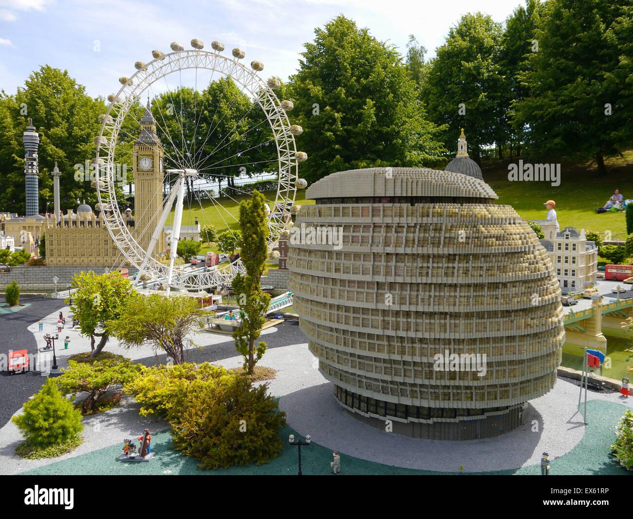 Lego models of the London skyline at Legoland resort Windsor, England - Stock Image