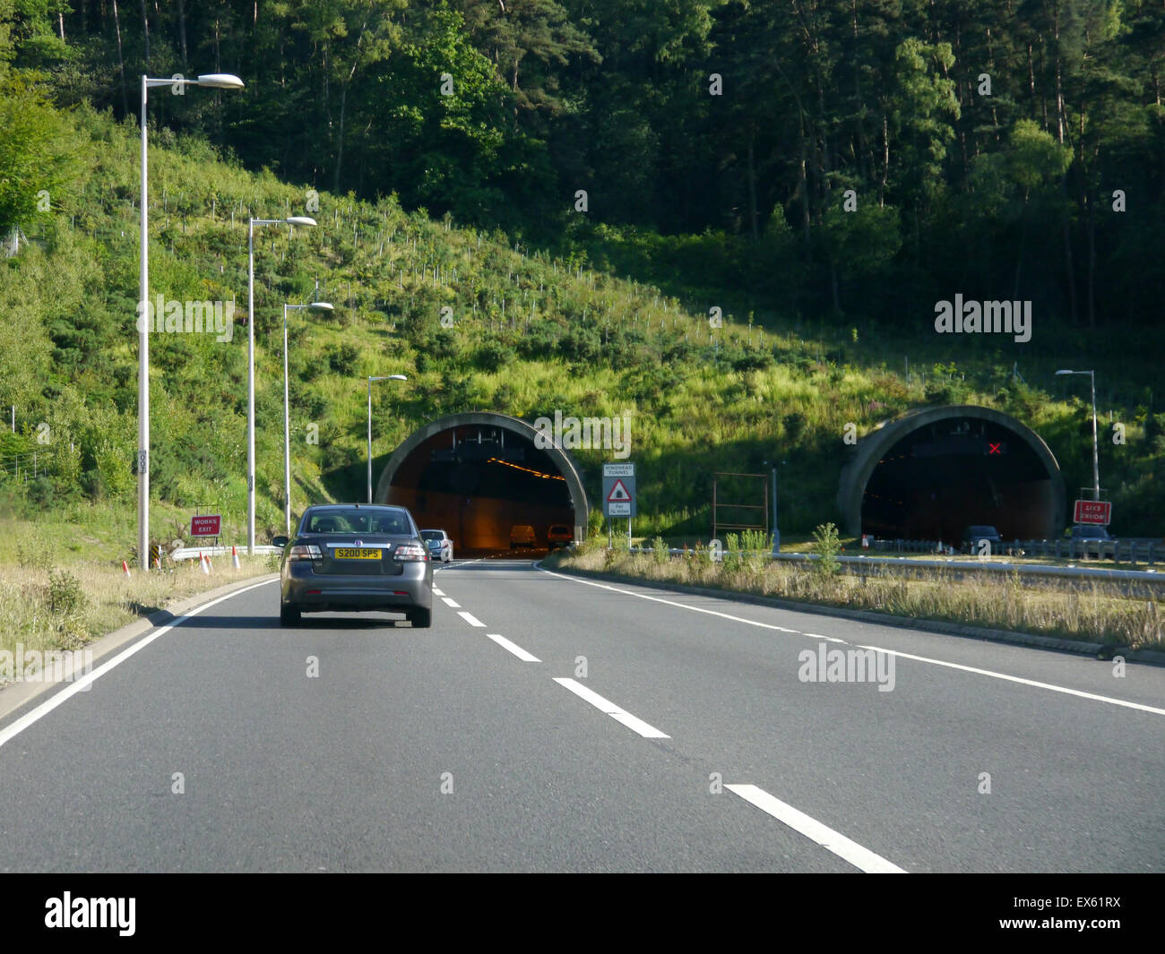 The Southbound entrance to the Hindhead Tunnel, Hindhead, England - Stock Image