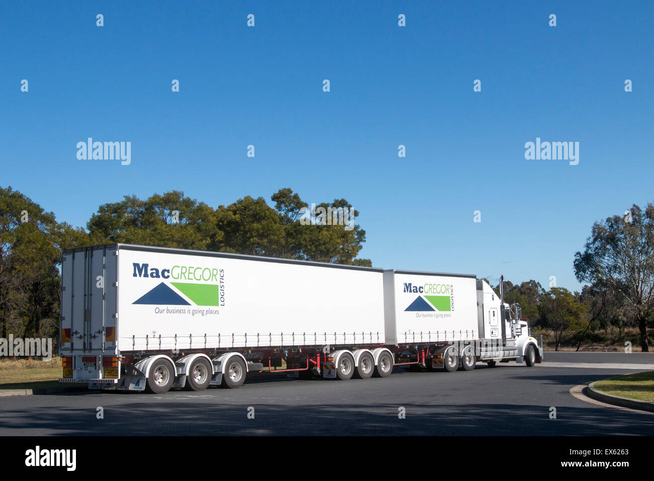 Australian heavy goods vehicle truck at Pheasants nest service station on the motorway in new south wales,australia Stock Photo