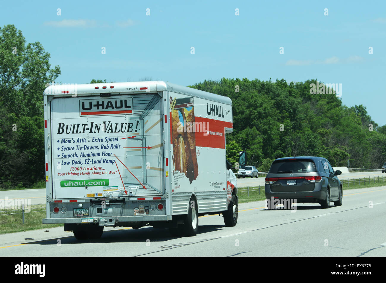 U-Haul moving truck on the highway. - Stock Image