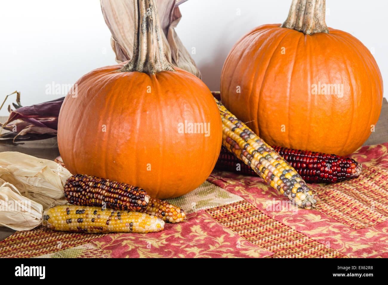 Orange pumpkin display with colorful ears of corn - Stock Image