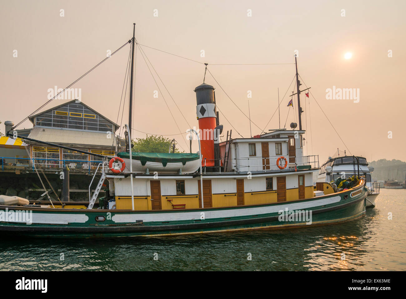 S.S. Master, steam powered tug boat, docked at Granville Island, False Creek, Vancouver, British Columbia Canada - Stock Image