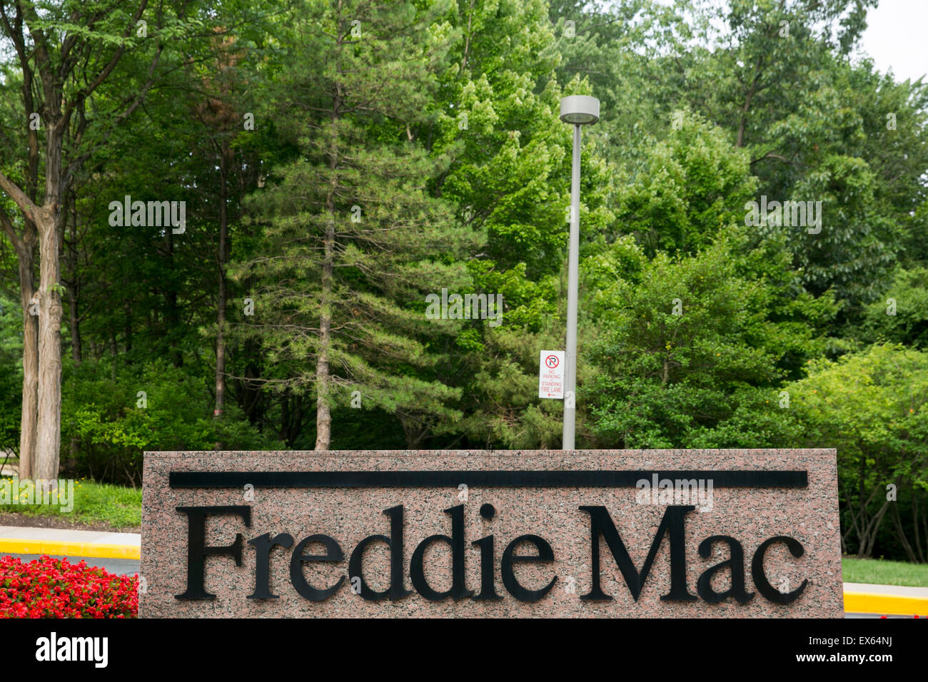 A logo sign outside of the headquarters of the Federal Home Loan Mortgage Corporation (FHLMC), known as Freddie Stock Photo
