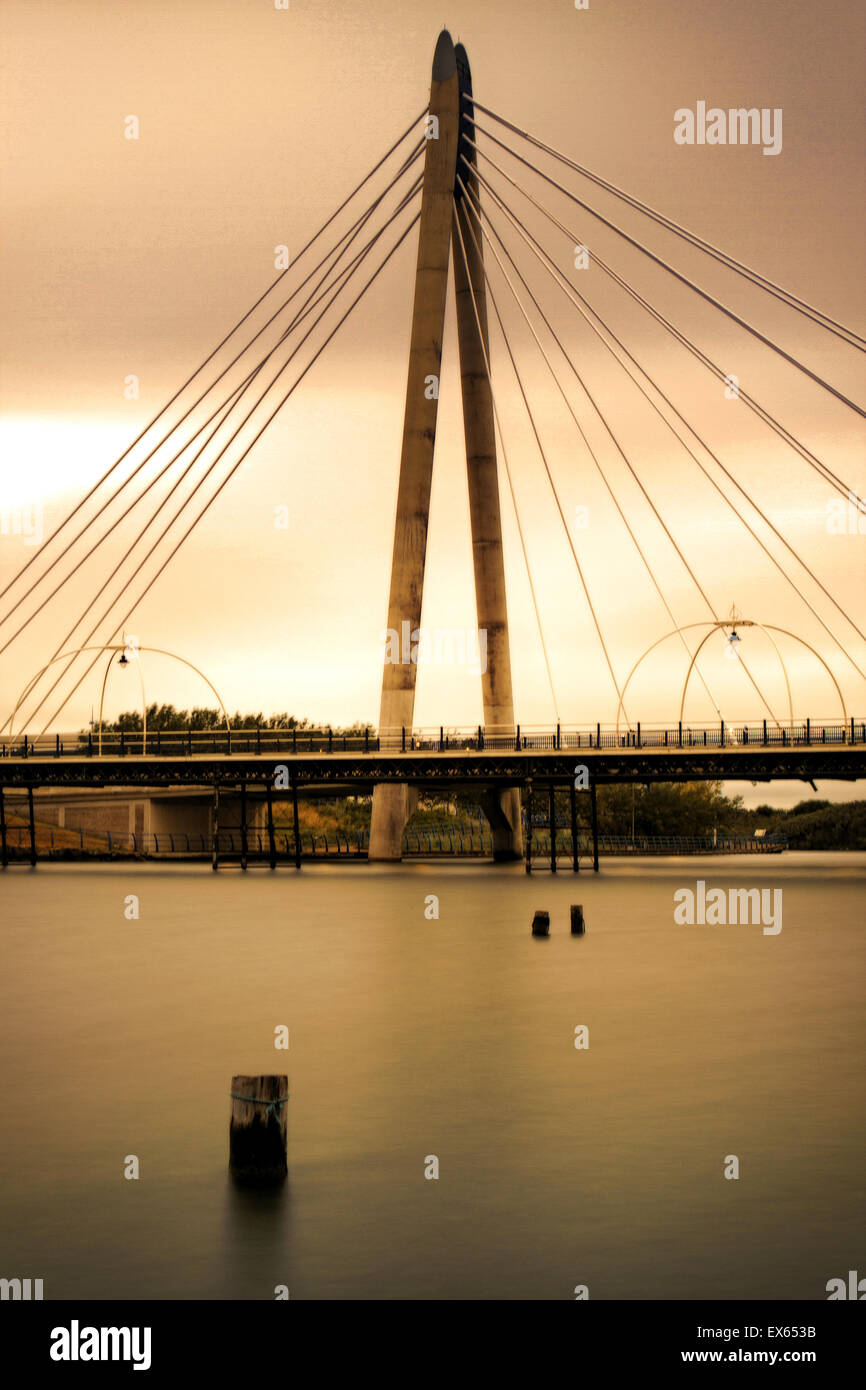 Marine Way Bridge connecting Ocean Plaza complex with town centre, Southport, Merseyside, England - Stock Image