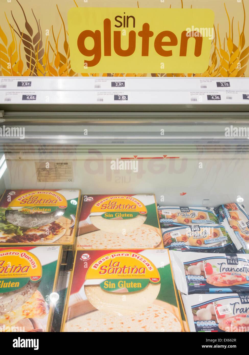 Gluten Free Sin Gluten In Spanish Frozen Pizza Bases In Spanish Stock Photo Alamy
