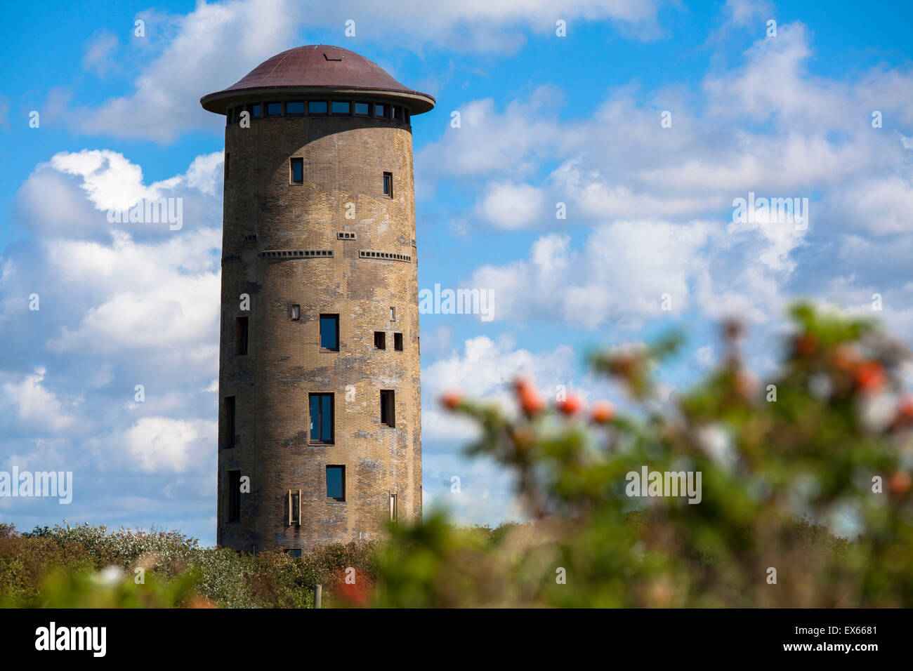 Europe, Netherlands, old water tower in the dunes in Domburg on the peninsula Walcheren. - Stock Image