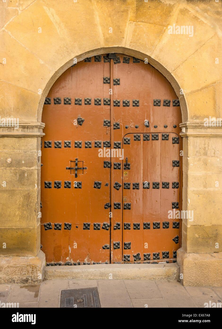 Old Wooden Door in Ubeda, Jaen Province, Andalusia, Spain Stock Photo