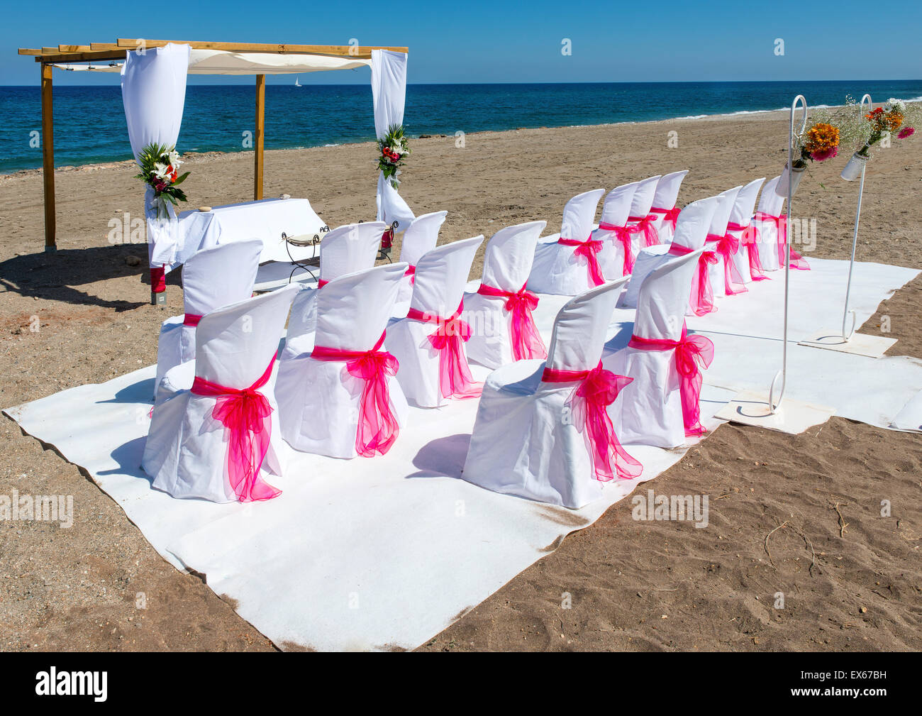 Beach Wedding Venue in Mojacar, Almeria Province, Andalusia, Spain Stock Photo