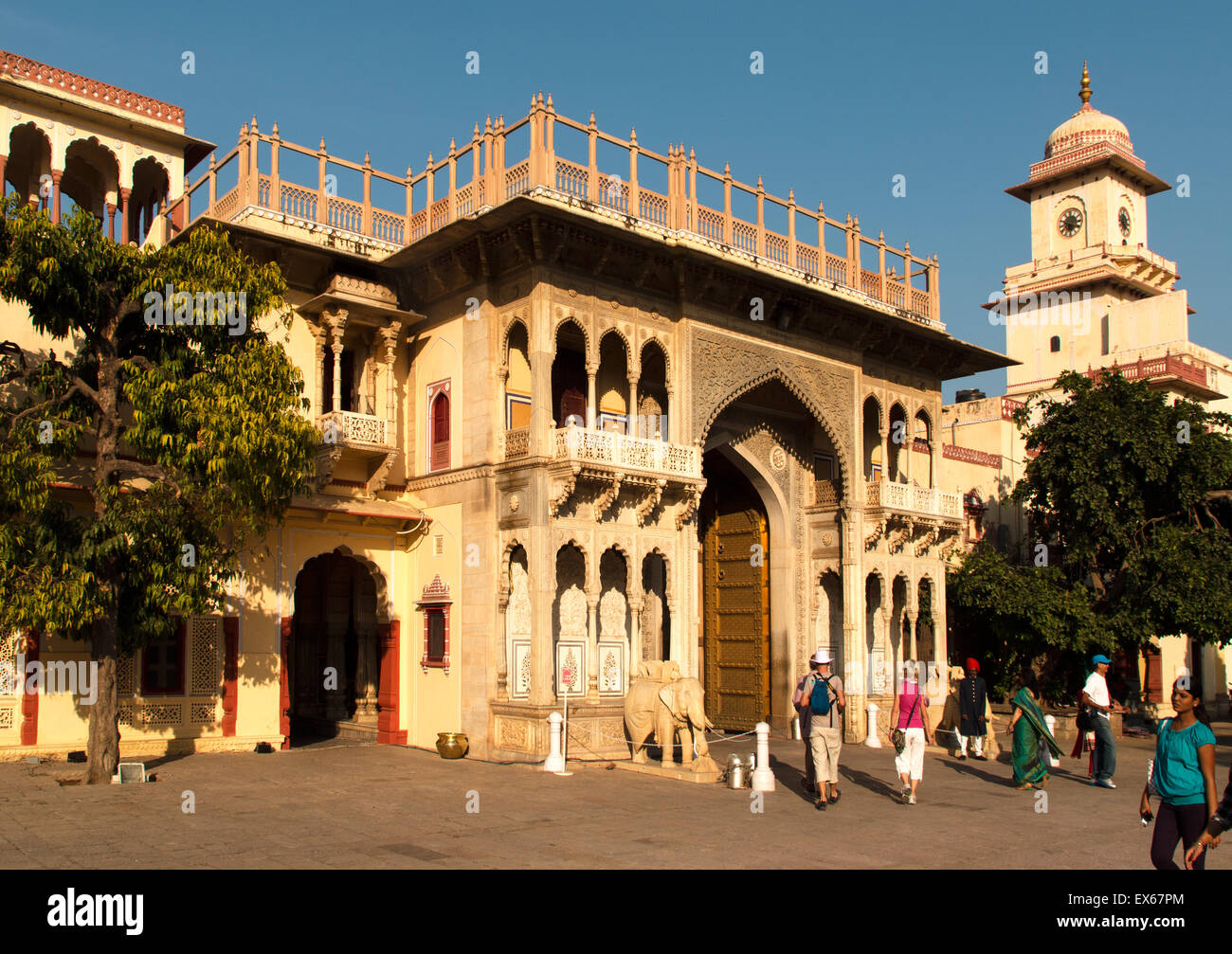 Entrance to the city palace of Jai Singh II., Chandra Mahal, Jaipur, Rajasthan, India - Stock Image