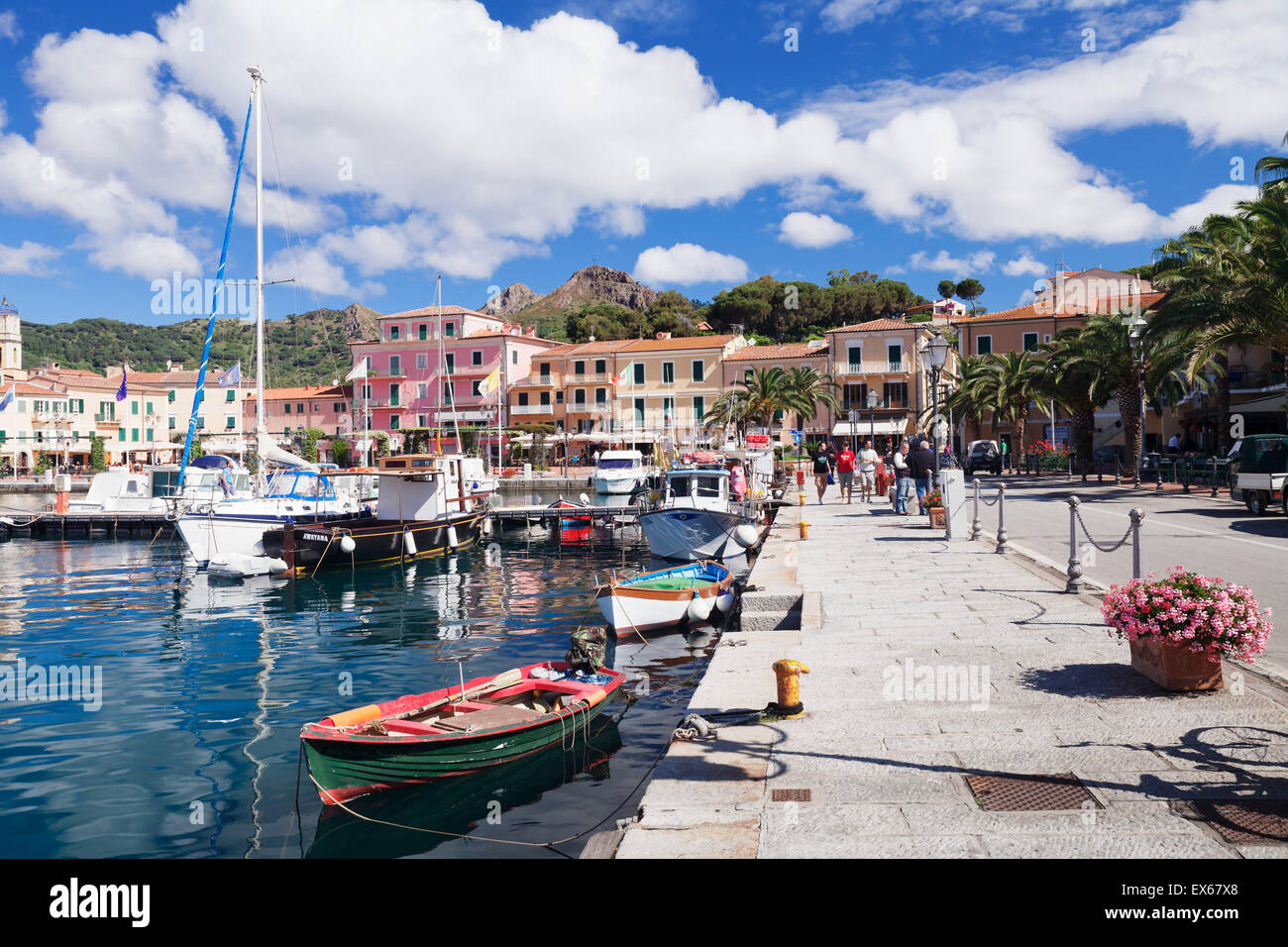 Harbour of Porto Azzurro, Elba, Livorno, Tuscany, Italy - Stock Image