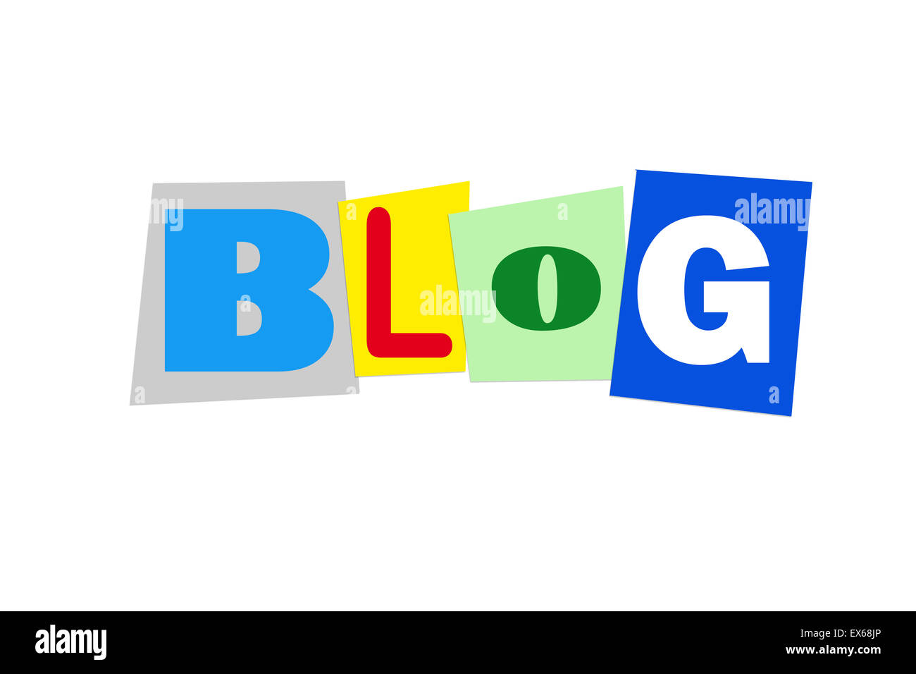 blog in colorful cut out letters - Stock Image