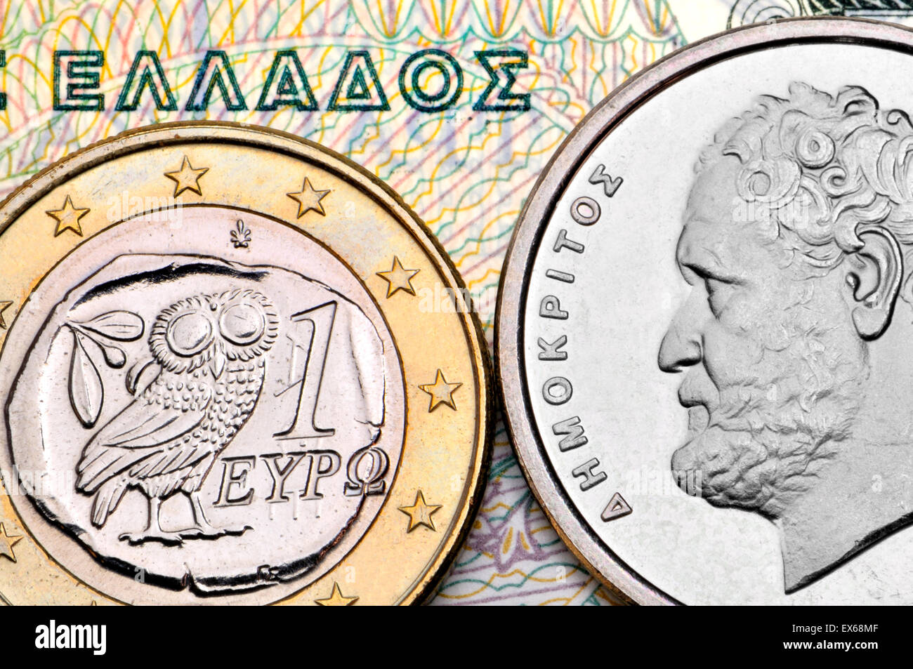 Greek currency - drachmas and Euro - Democritus on a 10dr coin - Stock Image